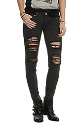 Machine Black Distressed Wash Skinny Jeans