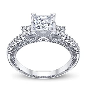 1.05 Ct Princess Cut Ladies Gold Diamond Engagement Ring On 18K White Gold Size 7