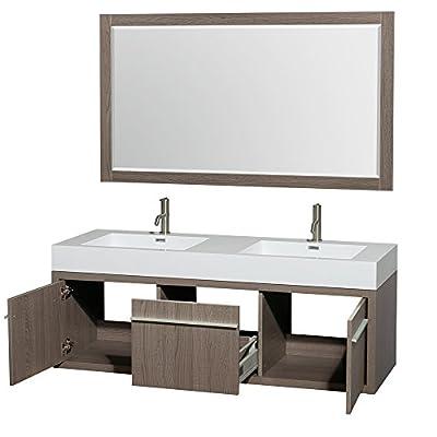 "Wyndham Collection Axa 60"" Double Bathroom Vanity in Grey Oak, Acrylic Resin Countertop, Integrated Sinks & 58"" Mirror"