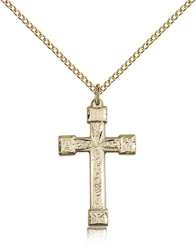 Genuine IceCarats Designer Jewelry Gift Gold Filled Cross Pendant 1 X 5/8 Inch With 18 Inch Gold Filled Lite Curb Chain. Made In Usa.