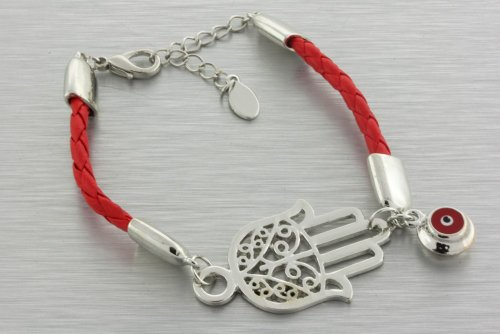 Red Braided Hamsa/Hand of Fatima Bracelet with Evil Eye Charm