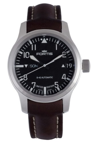 Fortis Men's 655.10.91 L.16 B-42 Flieger Big Date Steel Black Dial Automatic Brown Leather Date Watch