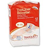 Tranquility TopLiner Contour Adult Diaper Booster Pads, Case of 60 (5 Bags of 12)