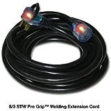 Milspec Direct 25-Foot 8-Gauge STW Pro Grip 40A Welding Extension Cord for Portable Welders, Black