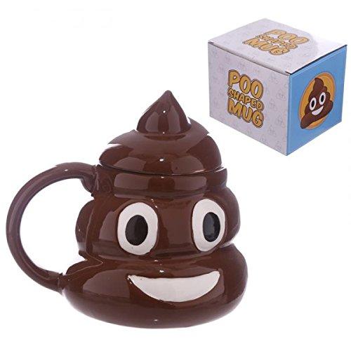 Tazza Mug colazione ceramica CON COPERCHIO EMOTICON EMOJI CACCA POOP