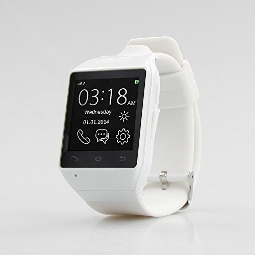 Asmart center® S19 1.54″ Touch Screen 2.0 MP Bluetooth Smart Watch Phone Sync SMS/Phone Book forIOS Apple iPhone Android Samsung also support SIM card ,camera/Radio/Audio player/Alarm/FM function(white)