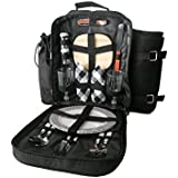 Plush Picnic® Two Person Picnic Backpack-Black Plaid