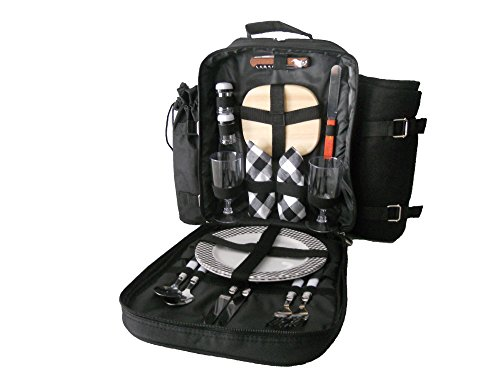 Plush Picnic® Two Person Picnic Backpack-Black Plaid