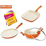 NIRLON 4 Layer Coated Ceramic Non-stick Induction Pans And Pots 3 Pieces Combo Cookwares Gift Set (Grill Pan, Kadhai/wok, Tawa) Orange Colour