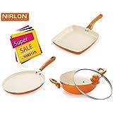 NIRLON 4 Layer Coated Ceramic Non-stick Induction Pans And Pots 3 Pieces Combo Cookwares Gift Set (Grill Pan, Kadhai/wok, Tawa) Orange Colour