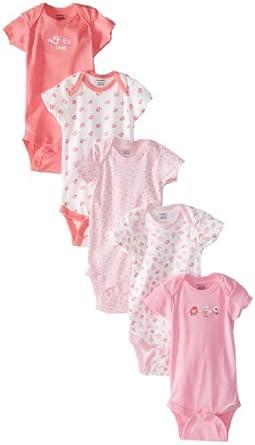 Gerber Baby-Girls Newborn 5 Pack Variety Brand Bird Onesies Brand, Bird Pink, Newborn