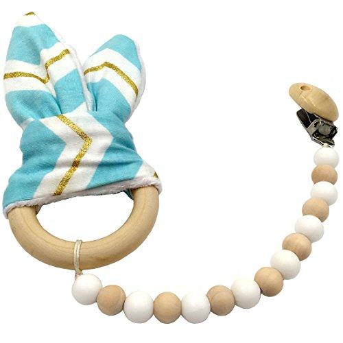 Coskiss Verde White Gold Stripe Ciuccio di legno della clip dell'orecchio Teether Montessori giocattolo perline in silicone legno Anello Bunny legno Nursing Baby (Verde White Gold Stripe)