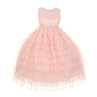 Kids Dream Tiered Mesh Princess Flower Girl Dress 2-14