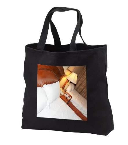 Two Queen Beds With A Lamp Glowing Between Them In A Hotel - Black Tote Bag Jumbo 20W X 15H X 5D front-1049402
