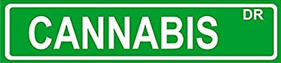 "Novelty CANNABIS 24"" wide vinyl decal bumper sticker of street sign"