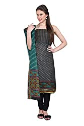 Parchayee Women's Black Printed Cotton Dress Material