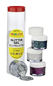 Snazaroo Face and Body Paint, Glitter Gel, 4 x 8ml, Tube A, Assorted
