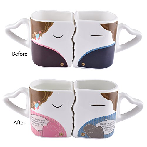 BUYNEED Novelty Magic Morning Mug Coffee Tea Milk Hot Cold Heat Sensitive Color-Changing Morphing Mug Cup,Set of 2