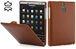 StilGut UltraSlim, Genuine Leather Case for BlackBerry Passport Silver Edition, Cognac Brown