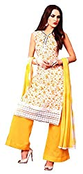 Sanvan White and Yellow Pure Cotton Floral Print Salwar Suit Material_SV185SF