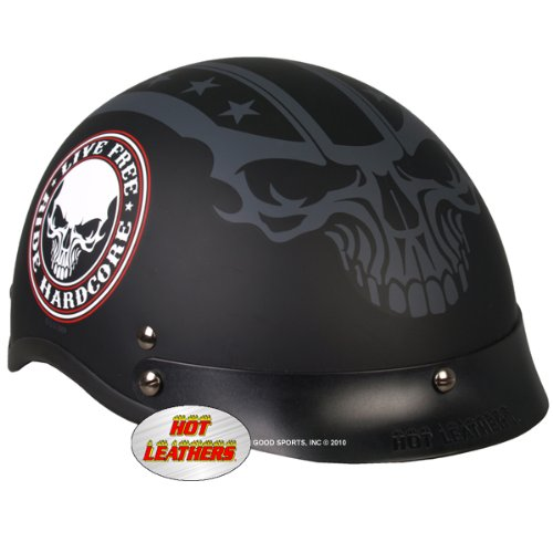 Hot Leathers DOT Approved Stencil Skull Helmet (Black, Small)