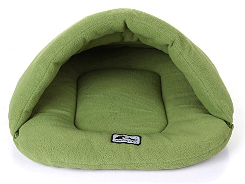 SFNet Pet Cushion Kennel House Nest Dog Cat Sleeping Bag Mat Warm Soft Bed Blanket (M, green)
