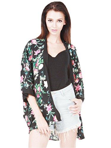 Persun Women Black Vintage Floral Sunscreen Kimono Coat