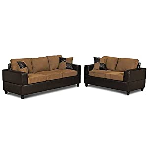 Amazoncom 5 piece microfiber and faux leather sofa and for Eurodesign brown leather 5 piece sectional sofa set