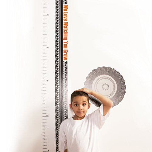 One Grace Place Teyo's Tires Growth Chart Decal, Black, White, Grey, Orange - 1