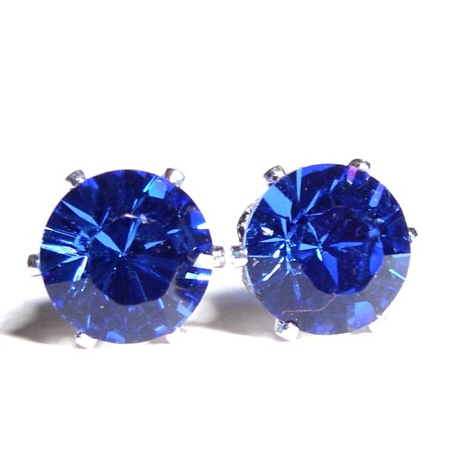 Men's Large 925 Sterling Silver Stud Earrings set with Sapphire Blue Sparkling Swarovski Crystal. Gift Box. Beautiful jewellery for very special people.