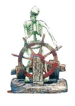 Penn-Plax Action Air Pirate Skeleton-at-the-Wheel Aquarium Ornament