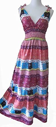 the grace eboutique Boho 5 tier grecian hippie long romantic dress, Size S -M, Multicolor