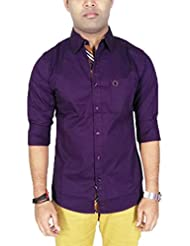 Southbay Men's Purple 100% Cotton Twill Long Sleeve Solid Casual Shirt
