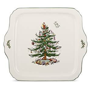#!Cheap Spode Christmas Tree Sculpted Square Serving Tray, 12-1/2-Inch