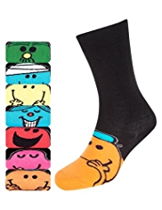 7 Pairs of Cotton Rich Assorted Mr. Men™ Socks