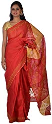 knool Women's Georgette Saree With Unstitched Blouse Piece (Maroon and Crème) (CCSH04)
