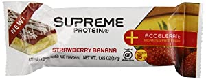 Supreme Protein Accelerate Protein Bar, Strawberry Banana, 21.1 Ounce