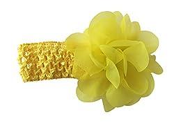 Bellazaara BELLAZAARA Baby Girl Yellow Chiffon Flower With Elastic crochet headband Head Band (Yellow)