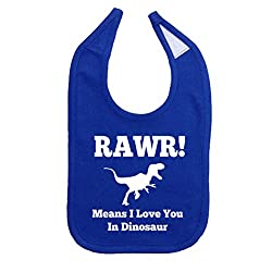 Mashed Clothing Unisex-Baby Rawr! Means I Love You In Dinosaur Cotton Baby Bib (Royal)