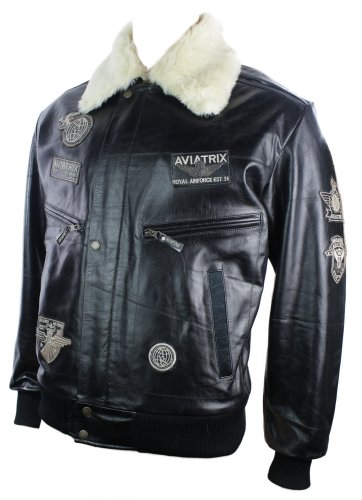 Mens Black Real Leather Bomber Aviator Badge Design Pilot Jacket Removable Fur Collar
