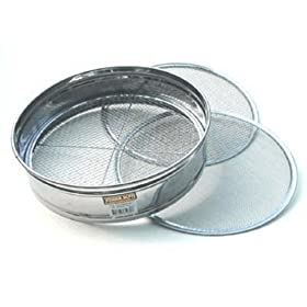 "4pc Soil Sieve Set, Stainless Steel 12"" diameter"