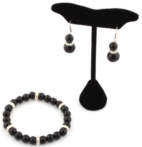 Ladies Black Pearl Style with Iced Out Rondelle Loops Stretch Bracelet & Matching Earrings Jewelry Set