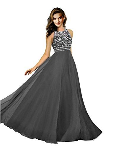 Promonline long prom dresses chiffon beaded jewel evening gowns