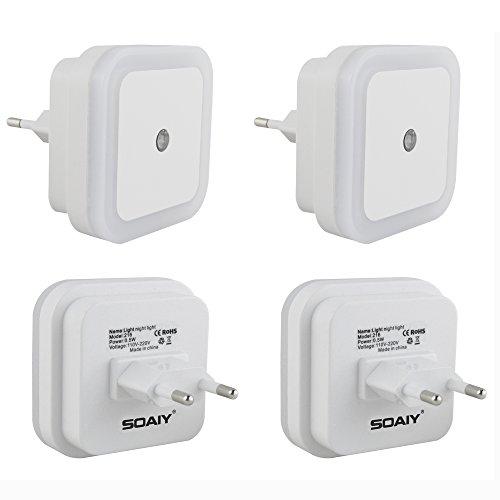 SOAIY® 4 Pezzi 0.5w Luce Notturna LED Lamppeggia Solo di Notte, Lampada Wireless da Parete, Bianco