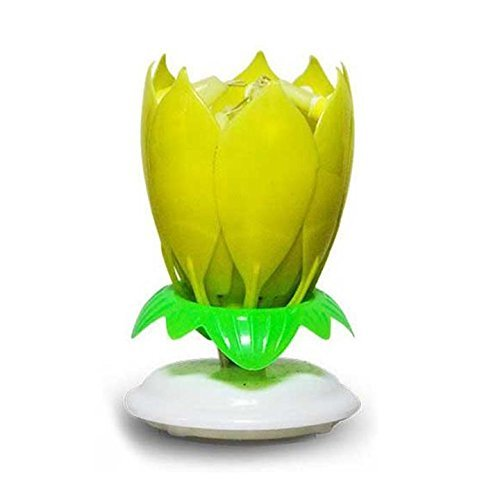 Beautylady Amazing Birthday Flower Music Lotus Spin Candle With 14 Small Candles Double Layers Yellow 1pc By