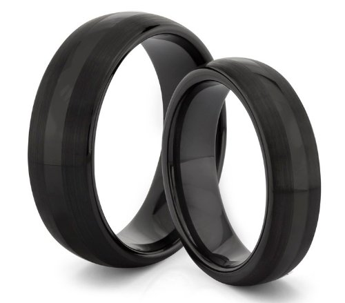 His  &  Her's 8MM/6MM Tungsten Carbide Brushed and Polished Black Wedding Band Ring Set (Available Sizes H - Z+2) EMAIL US WITH YOUR SIZES