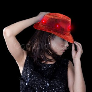 Fun Central O751 LED Light Up Sequin Fedora - Red - 1