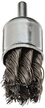 "Norton Stem Mounted Knotted End Brush, Carbon Bristles, 0.014"" Wire Size, 1/4"" Shank Diameter, 1"" Diameter (Pack of 1)"