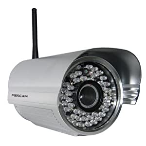 Foscam FI8905W Outdoor Wireless/Wired IP Camera 12 mm Lens (22° to 40° Viewing Angle) - Silver