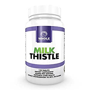Milk Thistle Extract - Liver Health and Cleanse Supplement - 80% Silymarin - 100% Natural Herbal Formula for Optimal Liver Function - 120 Easy To Swallow Tablets